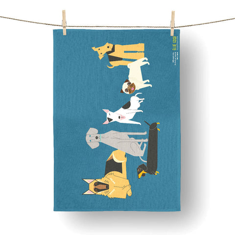 Doggy friends blue tea towel made with 100% organic cotton