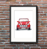 Classic Mini Cooper Illustration Print