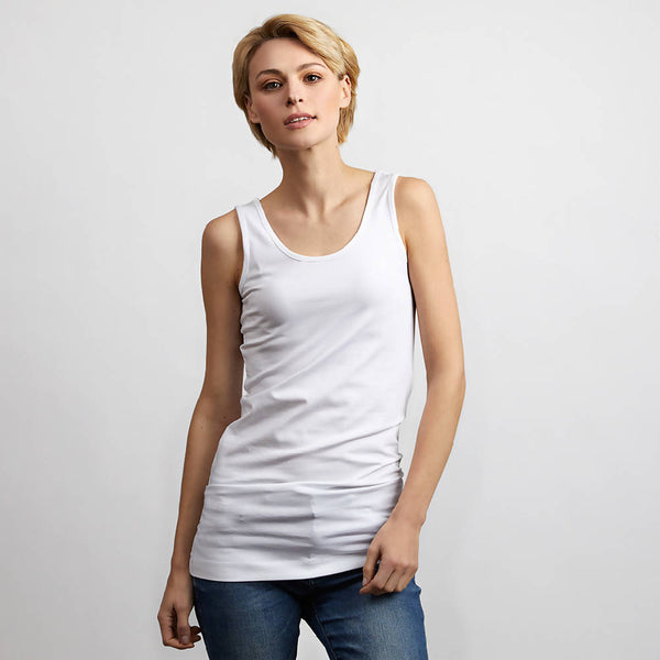 Long Length White Vest
