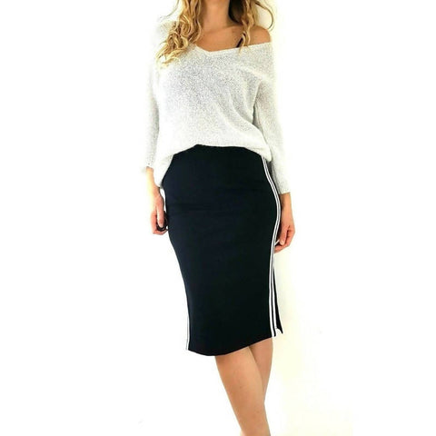 NEW M&S Pencil Skirt Side Stripes Midi 8 Long