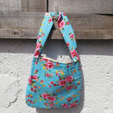 'Smallish' Tote Bag - Blue and Pink Floral