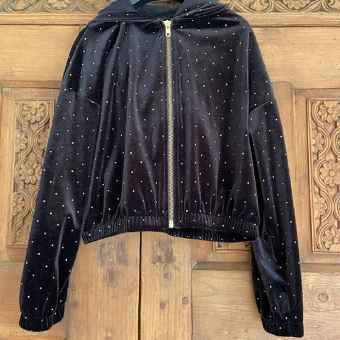 Next girls' black velour hoody, age 8