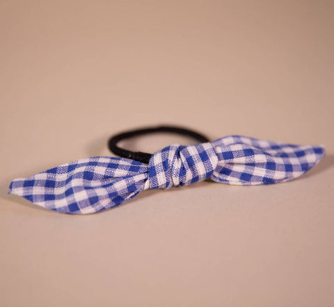 Dark Blue Gingham Hair Bow on Hair Elastic