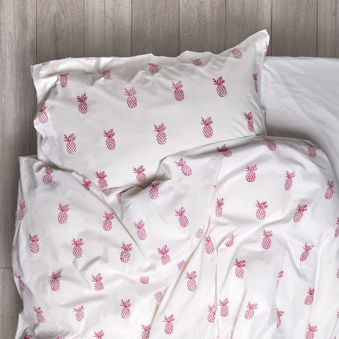 Hot Pink Pineapple Bedding Set Single