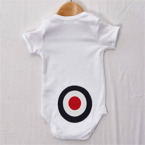 Navy Target on White Baby grow, size 0-3 months