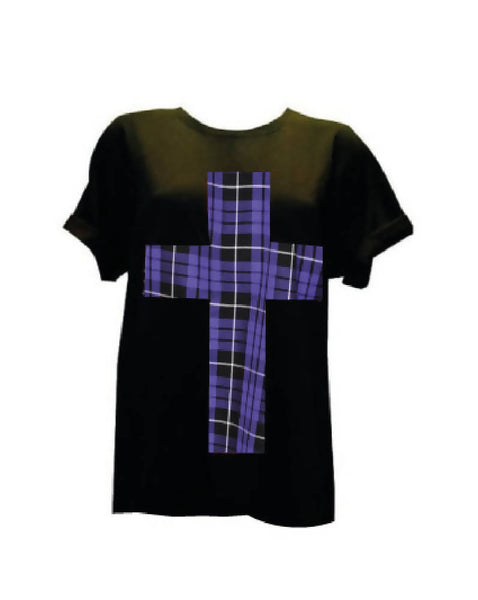 BLACK PURPLE TARTAN CROSS T-SHIRT ROCKABILLY | PRETTY DISTURBIA