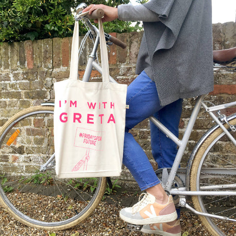 'I'm with Greta' tote made from recycled fabric in hot pink
