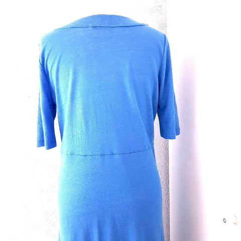 Artigiano 100% Linen Blue Midi Dress 14