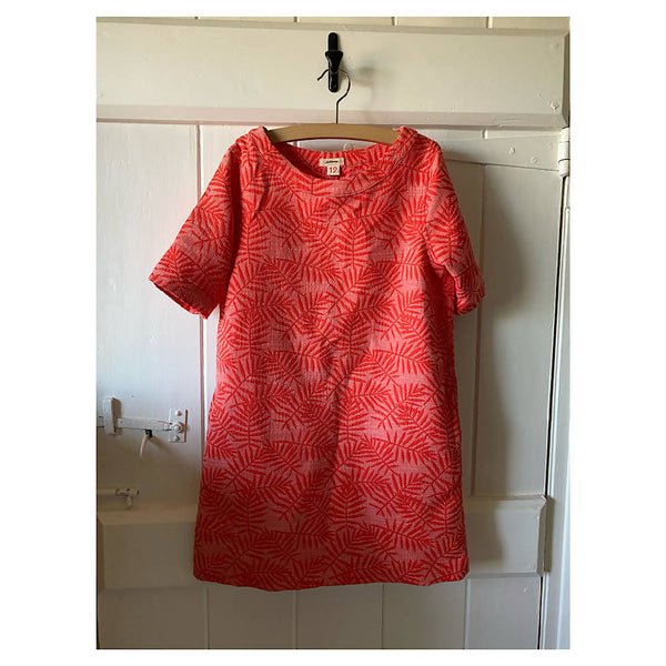 BELLEROSE VIBRANT ORANGE FERN PRINT MINI DRESS AGE 10/12