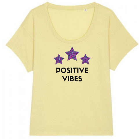 NEW Positive Vibes Scoop Neck handmade to order T-shirt