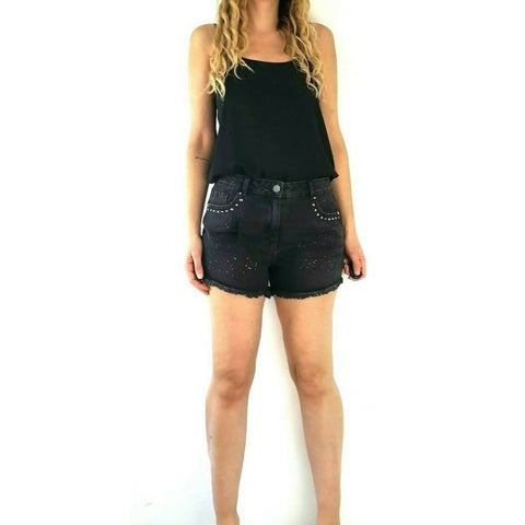NEW Next High Waist Cutoff Denim Shorts Black Studs 12