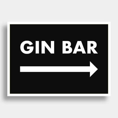 Gin Bar (Right Arrow) | Home Decor - Wall Art - Typography