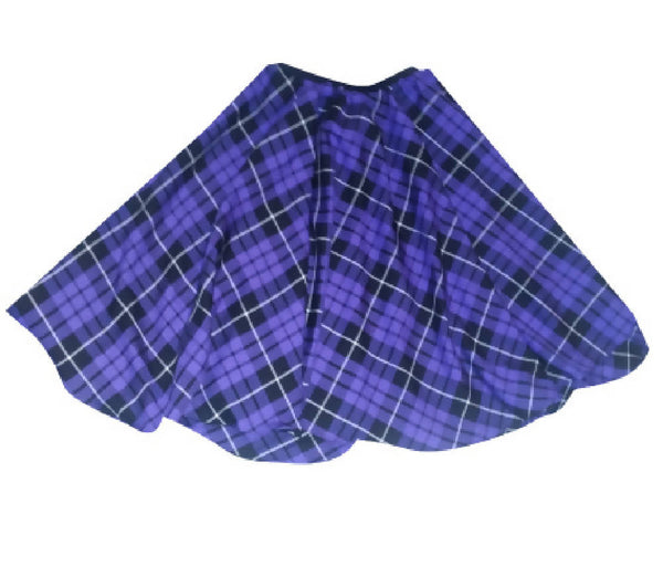 PRETTY DISTURBIA HANDMADE PURPLE TARTAN FULL CIRCLE SKIRT