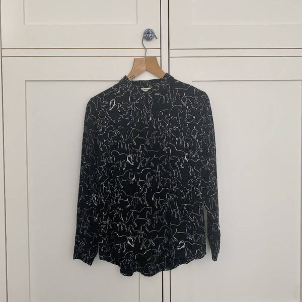 Whistles - Black and White Button Up Blouse (UK14)