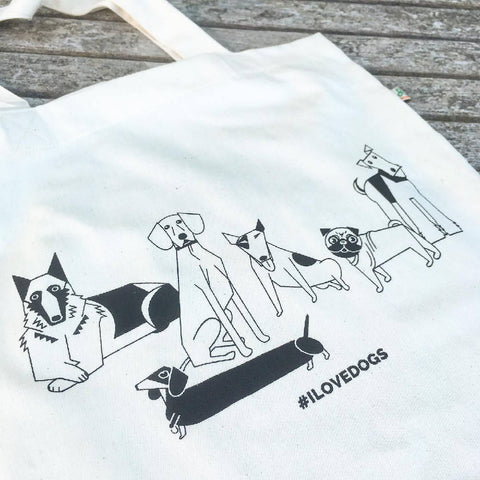 #ILOVEDOGS tote bag made from recycled fabric
