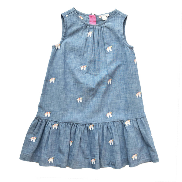 CREW CUTS DENIM UNICORN DRESS 5 YEARS