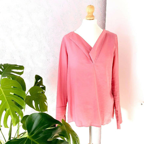 COS Dusky Pink V Neck Blouse 10