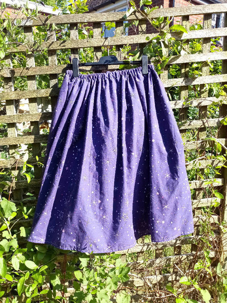 Elastic waist upcycled skirt midi length