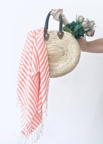 Coral Candy Stripe Hammam Towel