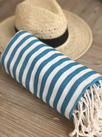Mint Candy Stripe Hammam Towel