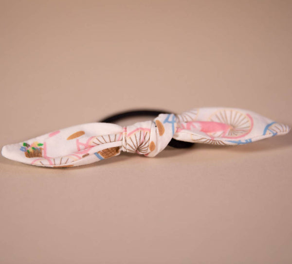 Bicycle Pattern Hair Bow on Hair Elastic