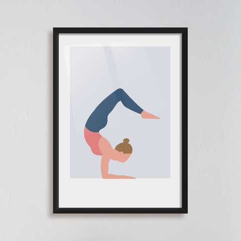 Scorpion pose yoga art print