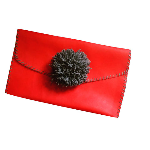 HANDMADE RED PVC POM-POM BAG PUNK GRUNGE | PRETTY DISTURBIA