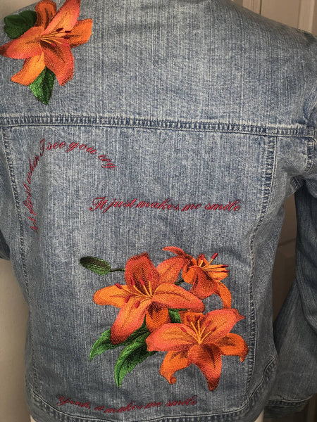 'Lily' embroidered denim jacket