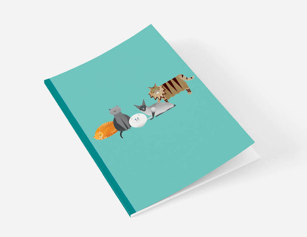 Cat Characters A5 teal notebook with plain pages