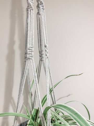 Medium Macrame Plant Hanger - Light Grey