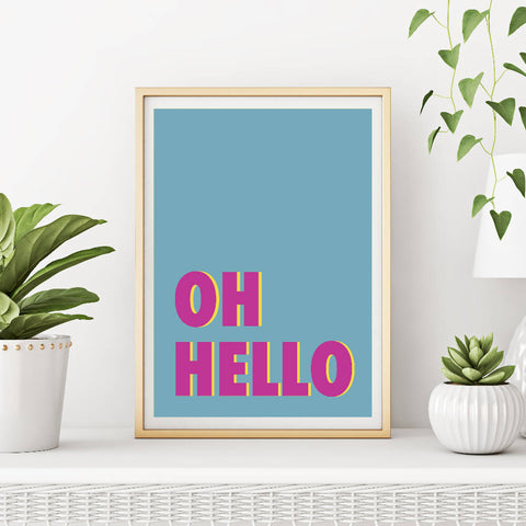 Oh Hello Art Print (teal/magenta) | Home Decor - Wall Art - Typography