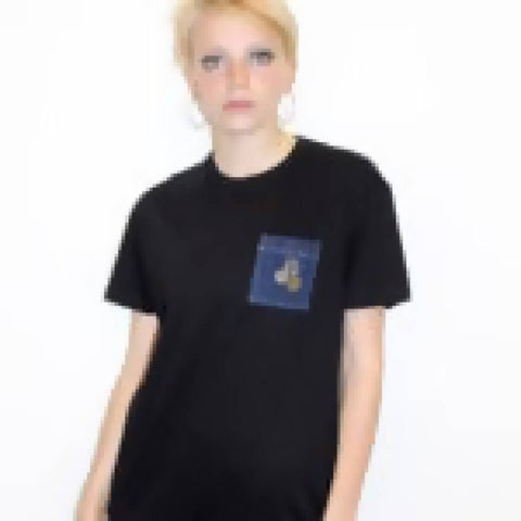 UNISEX Black Denim Pocket T-shirt | PRETTY DISTURBIA
