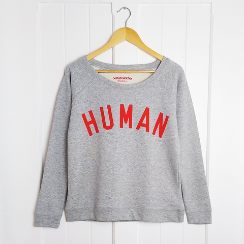 HUMAN Scoop Neck Sweatshirt <br>Grey/red Selfish Mother