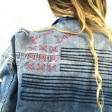 Missguided Denim Jacket Distressed Embroidered 10