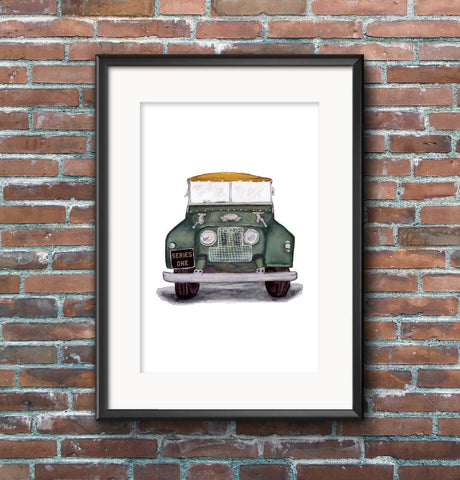 Front View of Land Rover Series 1 Illustration Print