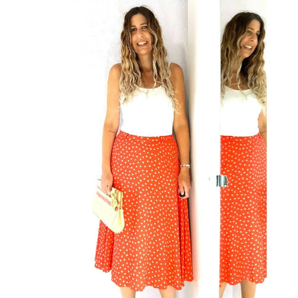 Vintage Red & White Midi Skirt 12