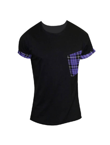 PRETTY DISTURBIA BLACK PURPLE TARTAN ROCKABILLY UNISEX T-SHIRT TOP