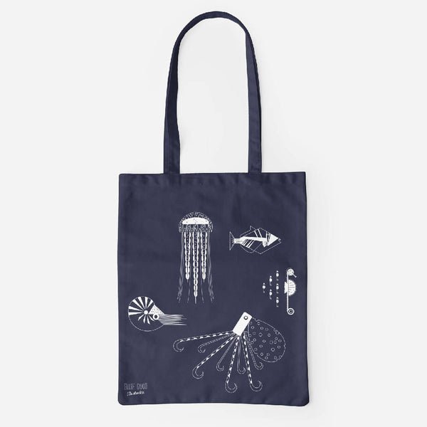 Sea Creatures tote made from recycled fabric - in white or neon coral