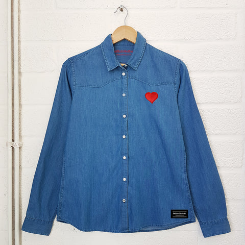 Heart Embroidered Denim Shirt