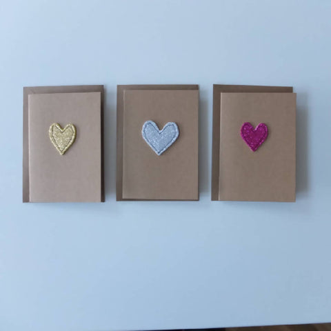 Handmade greetings card blank. Sparkly heart design