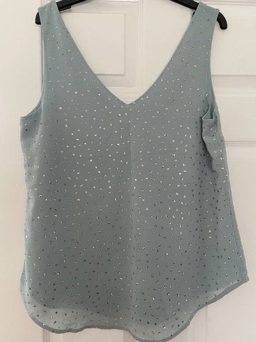 Oasis pale blue v-neck vest with sequins, size 14