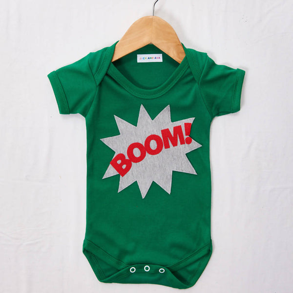 Boom on a Green Baby grow, size 3-6 months