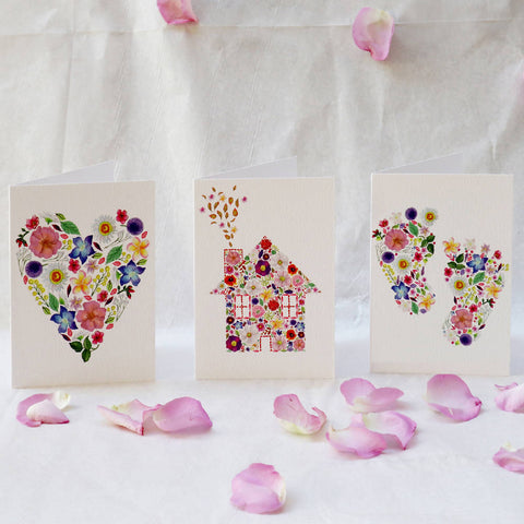 Pack of 6 Luxury Petal Greeting Cards