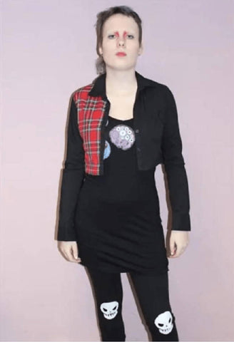 Handmade Black Shirt Red Tartan Panel| PRETTY DISTURBIA