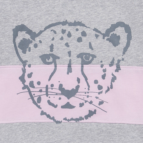 Cheetah pink and grey block sweater