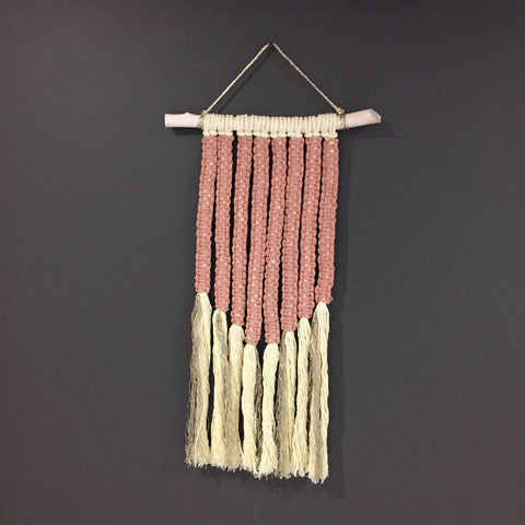 Modern Pink and Gold Macramé Wall Hanging