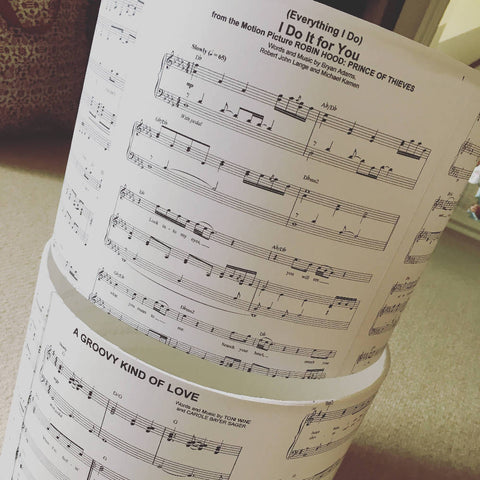 Bespoke Handmade 25cm Medium Sheet Music Light Shade