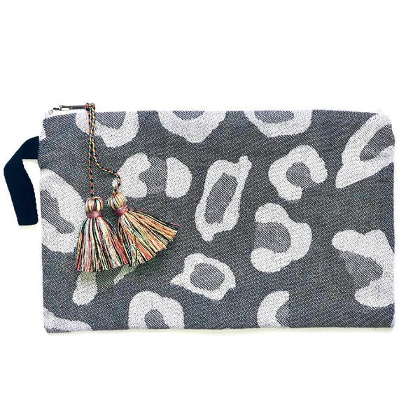 Grey Leopard Print Pouch