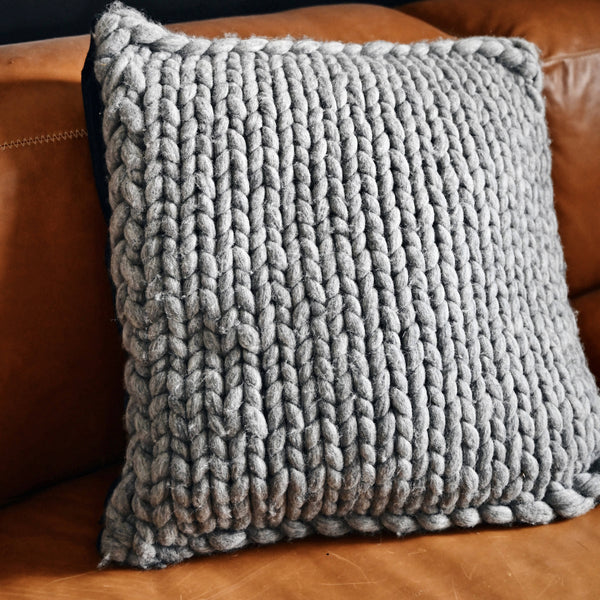 Merino wool chunky knit cushion