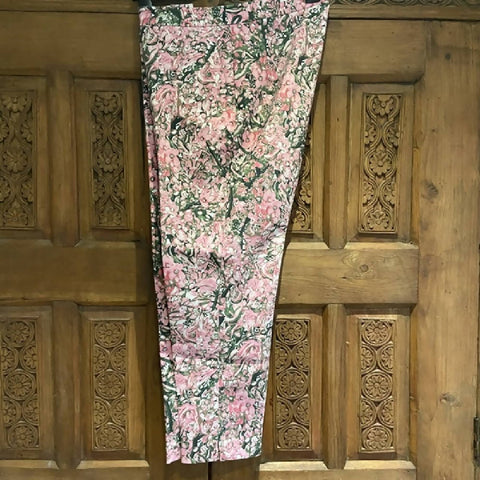 H&M pink/green floral cigarette pants, 14